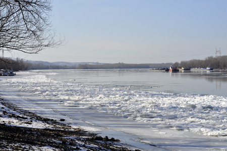 Ice sheets float on the river Danube Stock Photo