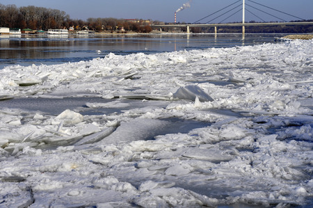 transportaion: Ice sheets float on the river Danube Stock Photo