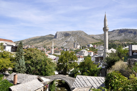 Scenic view of the historic city of Mostar, Bosnia And Herzegovina Stock Photo