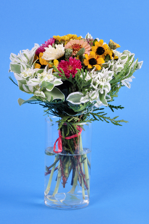 bouquet of flowers in a glass vase on an abstract blue background. Banco de Imagens