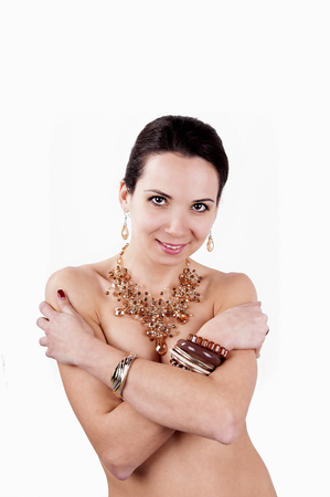 young beautiful fashion woman with jewelry accessories Banco de Imagens