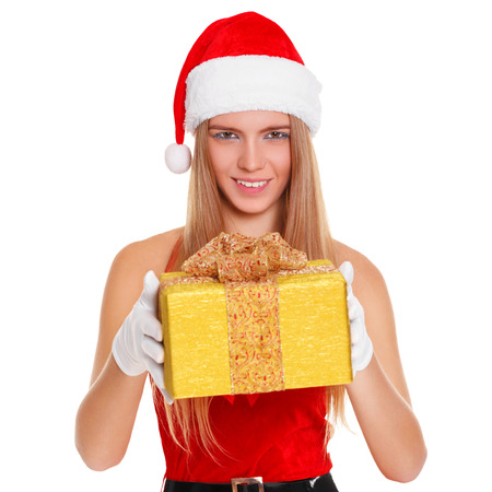 woman surprise: Beautiful sexy girl wearing santa claus clothes with christmas gift. Isolated on white background Stock Photo