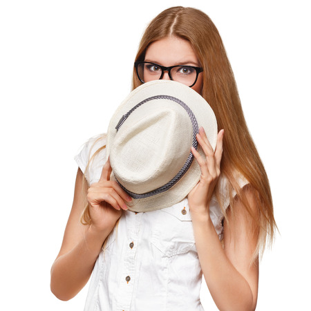 glasses eye: Surprised happy beautiful young woman in excitement. Fashion girl with hat, isolated on white background Stock Photo