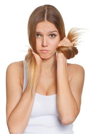 beautiful sad: Beautiful sad woman in depression. Emotional portrait Stock Photo