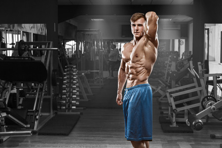 nude pose: Sexy muscular man posing in gym, shaped abdominal. Strong male naked torso abs, working out