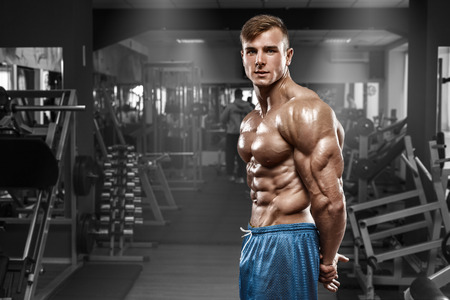 nude abs: Sexy muscular man posing in gym, shaped abdominal, showing triceps. Strong male naked torso abs, working out
