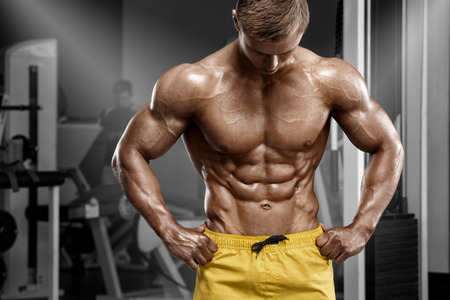 body torso: Sexy athletic man showing muscular body and sixpack abs in gym. Strong male nacked torso, working out