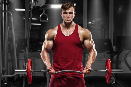 바벨, 강한 남성과 함께 운동을 하 고 체육관에서 밖으로 작동하는 근육 질의 남자