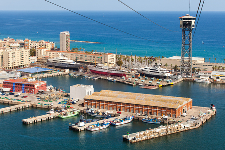 Aerial view of the Harbor district in Barcelona, Spain. Panoramic view coastline
