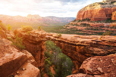 Travel in Devil's Bridge Trail, scenic view panoramic landscape, Sedona, Arizona, USA 写真素材