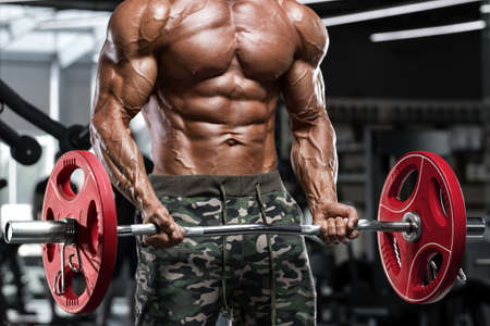 Muscular man in gym doing exercises for biceps, working out. Strong male naked torso abs