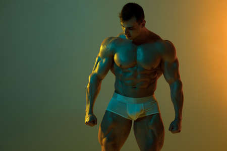 Sexy muscular man in underwear. Strong male  torso abs