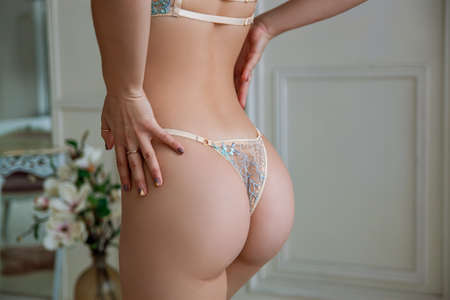 Beautiful Slim Woman Butt. Beauty Woman Body With Attractive Buttocks In Lace Lingerie.