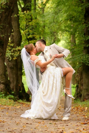 wood lawn: Newly-married couple kisses on a wood lawn Stock Photo