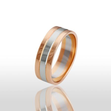 pierced ears: The beauty wedding ring. Isolated on white background.