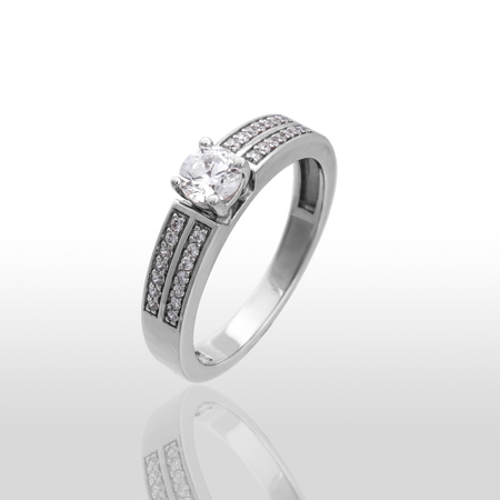 reflexive: The beauty wedding ring made of white gold. Isolated on white background.