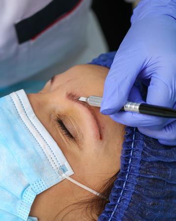 Remove microblasting old makeup. Stock Photo