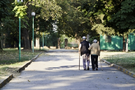 Senior couple walking in the park and helping each other photo