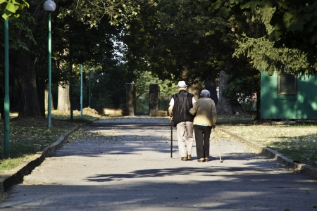 Senior couple walking in the park and helping each other Stock Photo