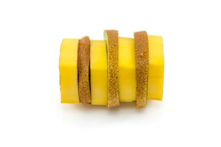 cohesive: Banana and kiwi sliced and sewed back together