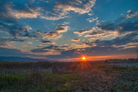 Powerful sunset near Plovdiv, bulgaria photo