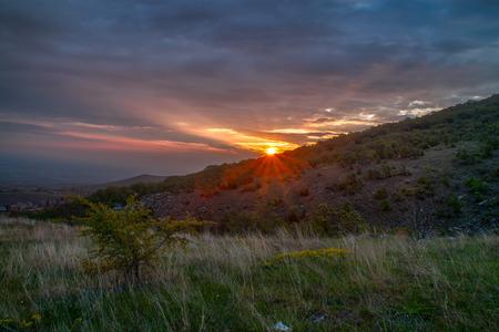 Sunrise over the hills of Plovdiv, Bulgaria photo
