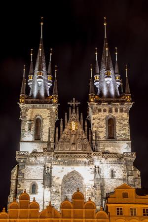 tyn: The Tyn Church in Prague at night