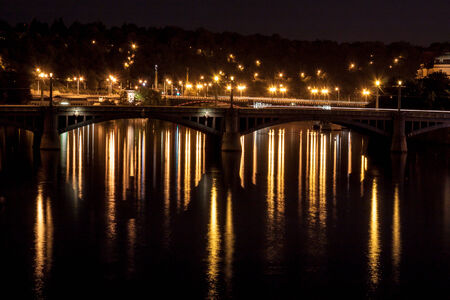 czech culture: Manes Bridge lights at night  Prague