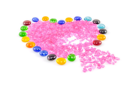 Broken Heart Made Of Vase Gems With Leaking Crystals Stock Photo