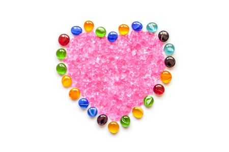Heart Made Of Vase Gems And Filled With Crystals Stock Photo