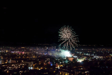 panoply: Fireworks for the The Unification of Bulgaria holiday celebrations in Plovdiv.