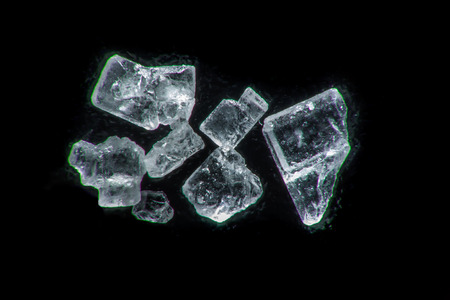 disaccharide: Extreme macro photography of sugar crystals on a black background Stock Photo