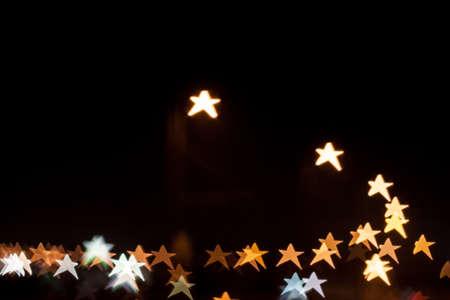 Star shape qustom bokeh. City street lights.