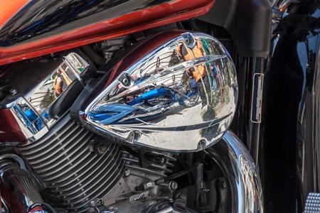 chromed: Reflective chromed Motorcycle engine Stock Photo