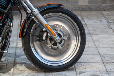 customized: Customized Motorcycle wheel rim. Looks like it is spinning even when it has stopped.