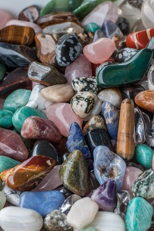 rock stone: Tray full of polished colorful stones Stock Photo