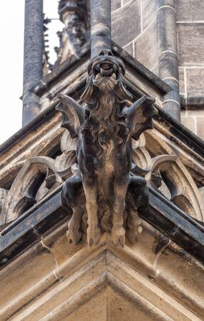 vitus: Gargoyle statue on Saint Vitus Cathedral in Prague