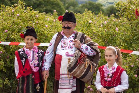 folklore: GORNO IZVOROVO, BULGARIA - MAY 30, 2015 - Bulgarian regional Rose picking ritual. Traditional folklore singing and dances.