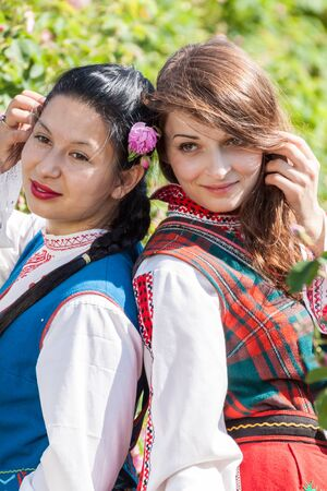 succesful: ROZOVO, BULGARIA - JUNE 06, 2015 - Rose picking ritual in Rozovo village. People dressed up in a traditional folklore costumes sing and dance for health and succesful harvest of the Bulgarian Roses.