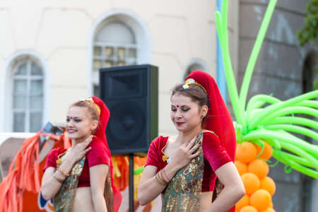 bikaner: PLOVDIV, BULGARIA -JUNE 6, 2015 - First street carnival in Plovdiv, Bulgaria. Dance clubs and schools from the area performing different styles of modern and traditional dances on the street.