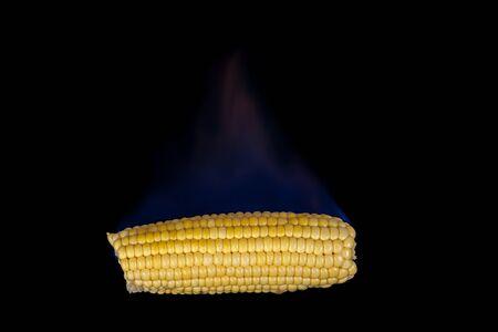 elote: Mazorca de maíz en el fuego con llamas azules aisladas sobre fondo negro