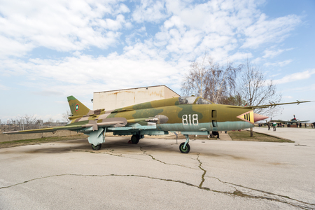 bn: PLOVDIV, BULGARIA - MARCH 03, 2016 - Airshow and demonstration for the Bulgarian Independence day annual celebrations. Exhibition of obsolete and retired from the Bulgaria air force jet fighters.