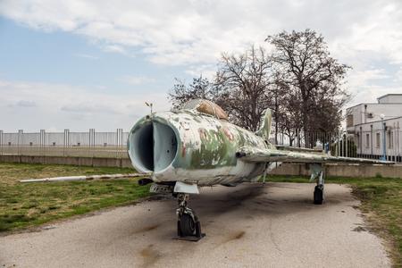19's: PLOVDIV, BULGARIA - MARCH 03, 2016 - Airshow and demonstration for the Bulgarian Independence day annual celebrations. Exhibition of obsolete and retired from the Bulgaria air force jet fighters.