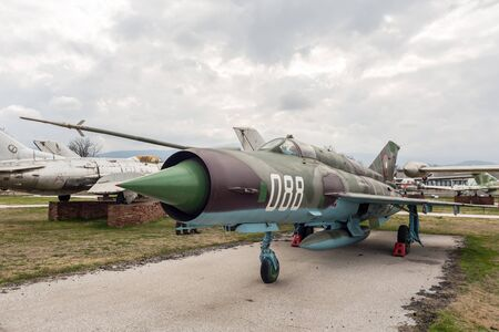 mig: PLOVDIV, BULGARIA - MARCH 03, 2016 - Airshow and demonstration for the Bulgarian Independence day annual celebrations. Exhibition of obsolete and retired from the Bulgaria air force jet fighters.