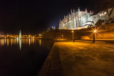 santa maria: The big cathedral of Santa Maria in Palma de Mallorca at night Stock Photo