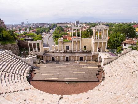 roman amphitheater: Aerial view of the roman amphitheater in Plovdiv, Bulgaria Stock Photo