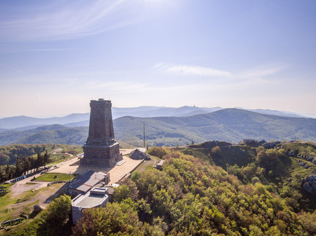 Aerial view of the Shipka monument symbolising the liberation of Bulgaria. Stock Photo