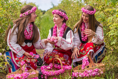 bulgaria girl: Bulgarian girl dressed in traditional dress picking roses and having fun during the Annual Rose Festival in Kazanlak, Bulgaria Stock Photo