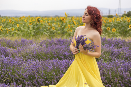 Young girl in a yellow dress enjoying a walk in a lavender field. Stock Photo