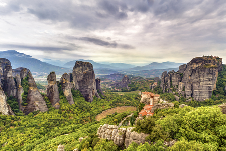Landscape view of the amazing rock formations and monasteries in Meteora, Greece